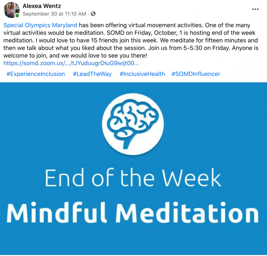 Athlete Leader, Alexea Wentz sharing a post on Facebook about SOMD's end of the week meditation session!