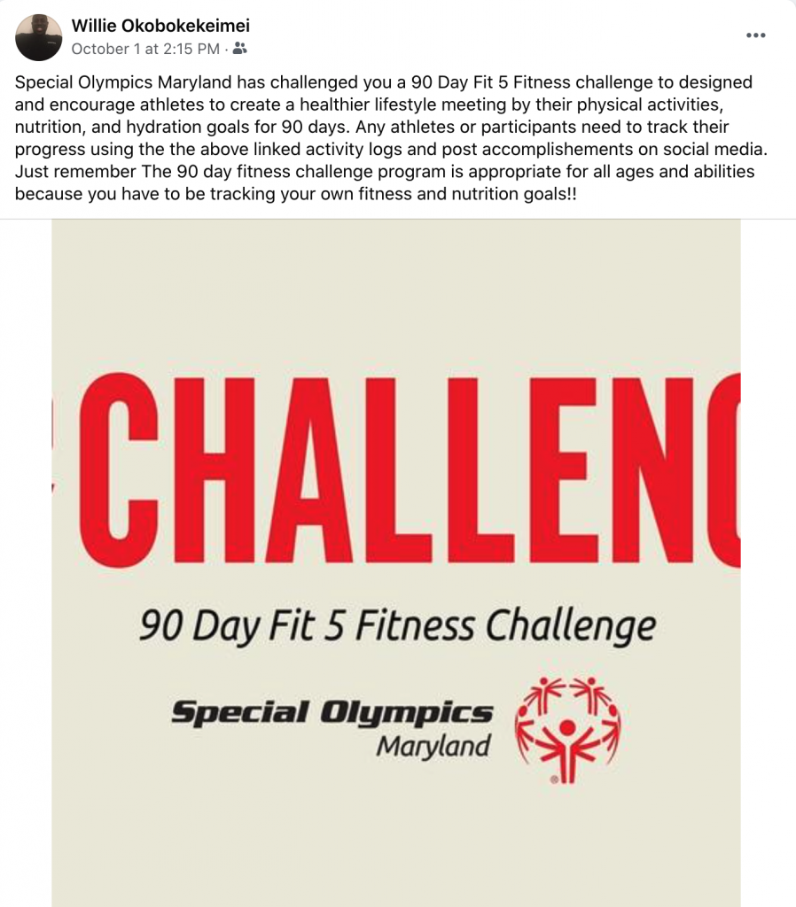 Athlete Leader, Willie Okobokekeimei sharing on Facebook about the 90 Day Fit 5 Fitness Challenge and how to get involved