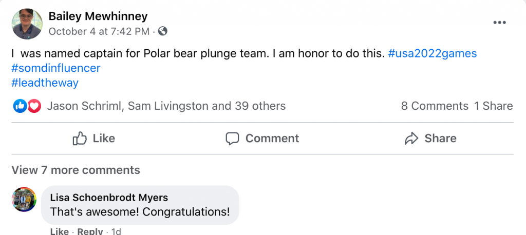 Bailey Mewhinney shared on Facebook about being selected to be a team captain for the 2022 polar bear plunge