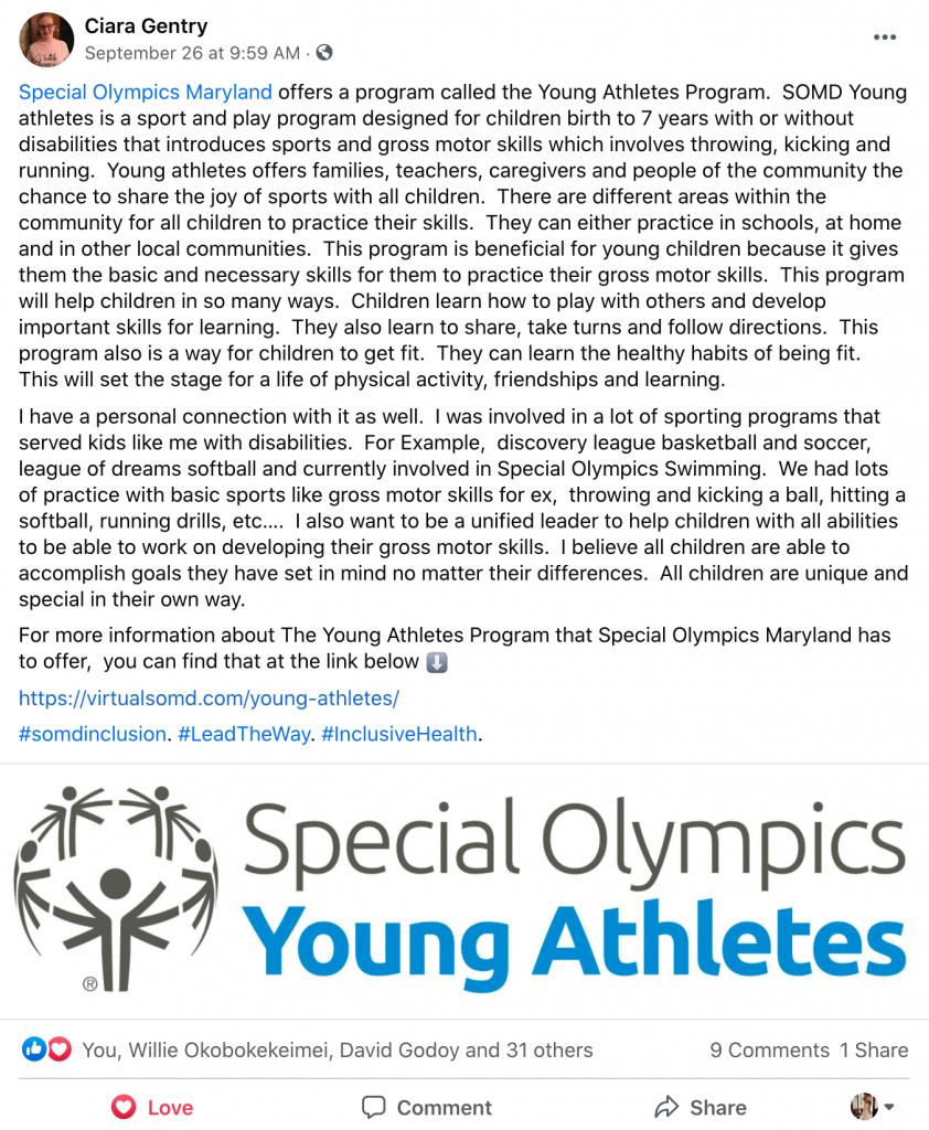 Ciara Gentry posted on Facebook about the benefits and wonderful aspects of the Young Athletes Program!